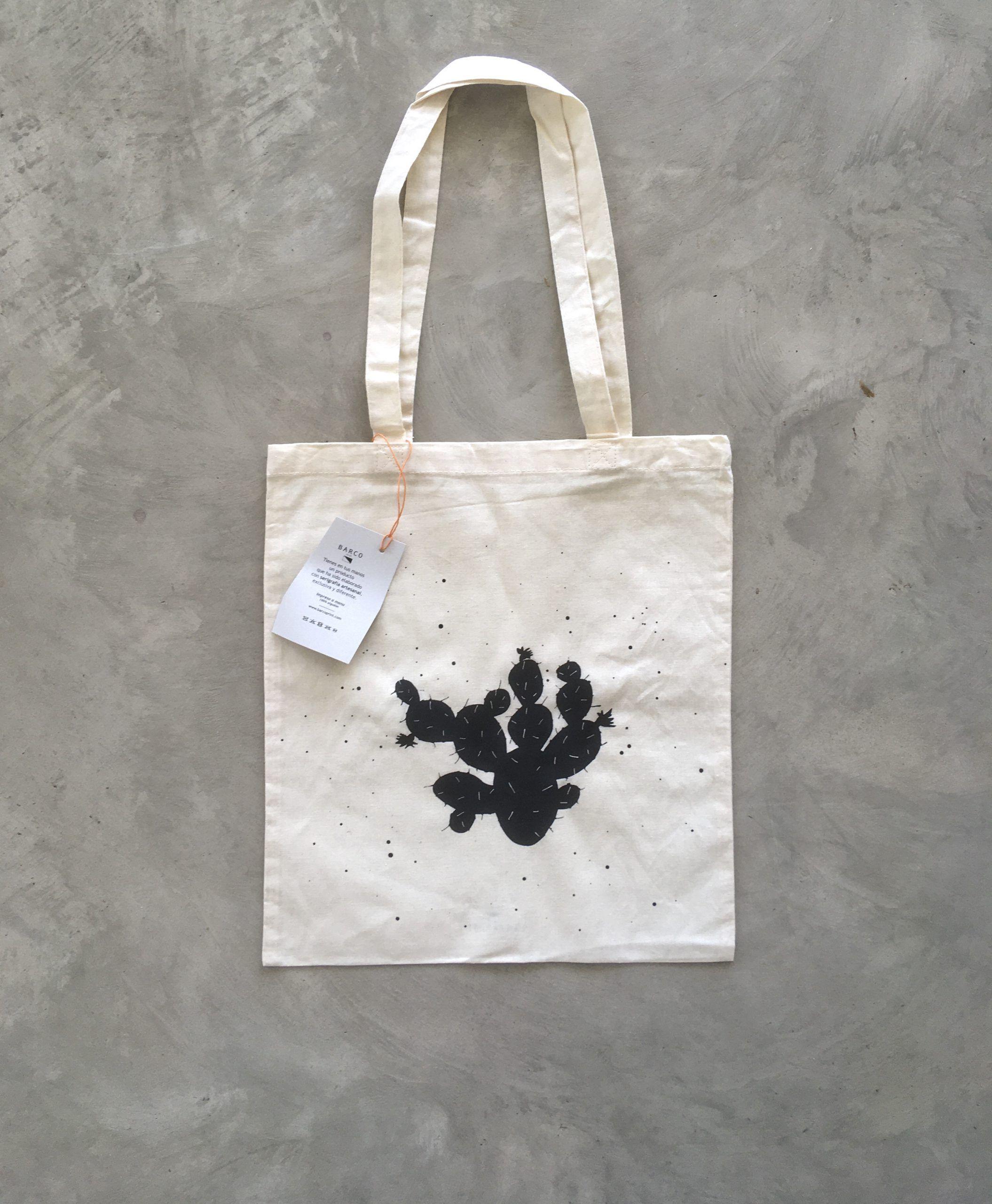 Bolsa Cactus negra. Barcoprint